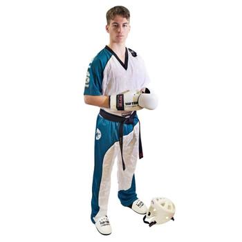 Top Ten Bow Kickboxing Uniform White/Teal/Black