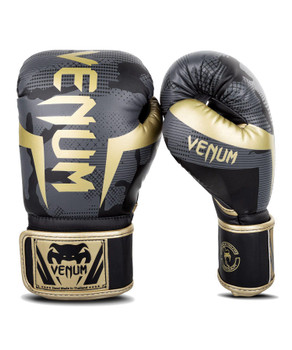 Venum Elite Boxing Gloves Dark Camo/Gold