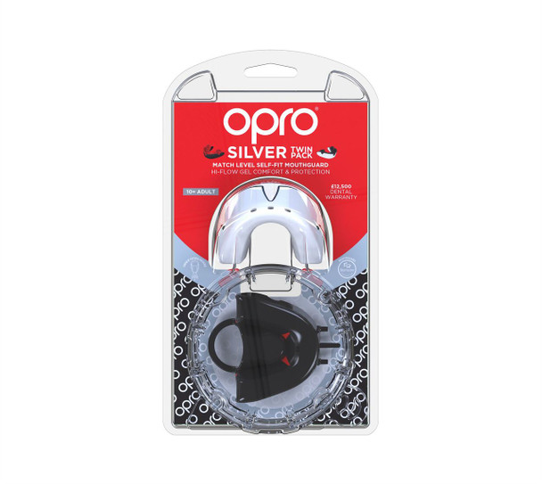 Opro Silver Twin Pack Gen 4 Mouth Guard Black/White