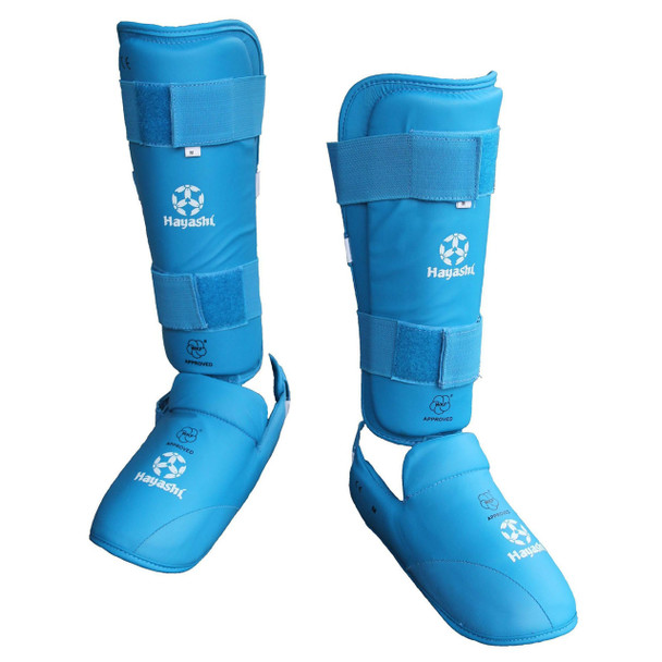 Hayashi WKF Approved Karate Shin/Instep Guard Blue