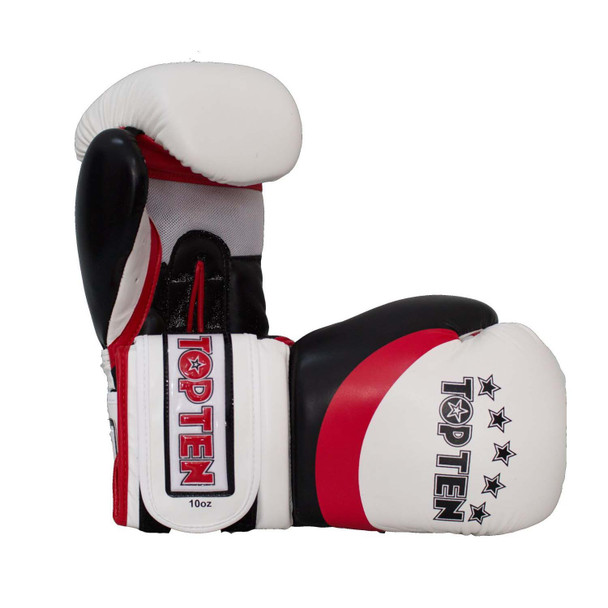 Top Ten Stripe Boxing Gloves White/Red/Black