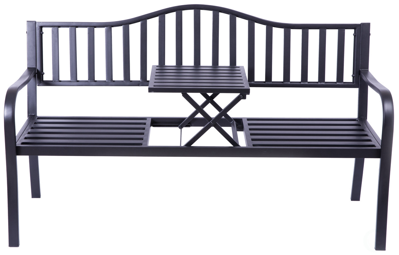 Powder Coated Black Steel Patio Garden Park Yard Bench With Middle Table Gardenised
