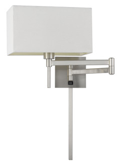 60W Robson Wall Swing Arm Reading Lamp With Rectangular Hardback Fabric Shade. 3 Ft Wire C (162 WL2930BS)