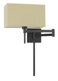 60W Robson Wall Swing Arm Reading Lamp With Rectangular Hardback Fabric Shade. 3 Ft Wire C (162 WL2930DB)