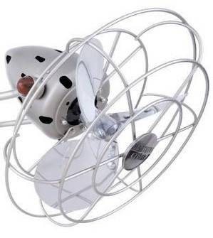 Aluminium Fan Head with Safety Cage-Brushed Nickel (230 MetalSFFHBN)