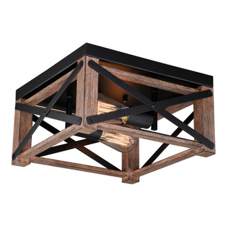 Colton 12-in Flush Mount Ceiling Light Rustic Oak and Noble Bronze (51|C0226)