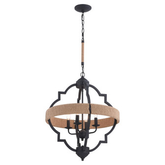 Beaumont 20 in. W 4 Light Pendant Textured Gray with Natural Rope (51|P0308)