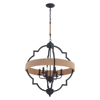 Beaumont 25 in. W 6 Light Pendant Textured Gray with Natural Rope (51|P0309)