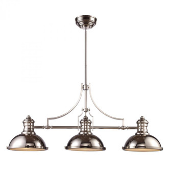 Chadwick 3-Light Island Light in Polished Nickel with Matching Shades (91|661153)