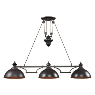 Farmhouse 3-Light Island Light in Oiled Bronze with Matching Shade (91|651513)