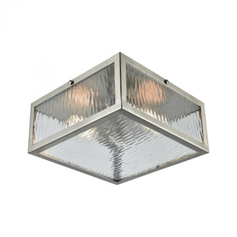 Placid 2-Light Flush Mount in Satin Nickel with Clear Ripple Glass (91|317862)