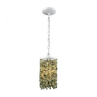 Agate Stones 1-Light Mini Pendant in Off-white with Light Jade Agate Stones - Includes Adapter Kit (91|653251LA)