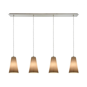 Connor 4-Light Linear Pendant Fixture in Satin Nickel with Peach Blown Glass (91 109404LP)
