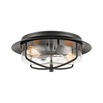 Lakeshore Drive 2-Light Flush Mount in Matte Black with Seedy Glass (91 464022)