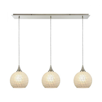 Fusion 3-Light Linear Mini Pendant Fixture in Satin Nickel with White Mosaic Glass (91 5293LPWHT)