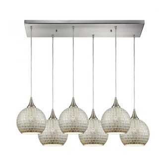 Fusion 6-Light Rectangular Pendant Fixture in Satin Nickel with Silver Mosaic Glass (91 5296RCSLV)