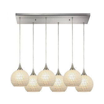 Fusion 6-Light Rectangular Pendant Fixture in Satin Nickel with White Mosaic Glass (91 5296RCWHT)