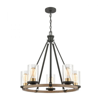 Geringer 5-Light Chandelier in Charcoal and Beechwood with Seedy Glass (91|472895)