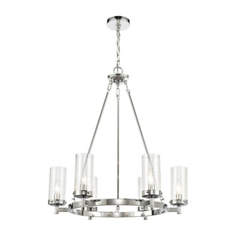 Melinda 6-Light Chandelier in Polished Chrome with Seedy Glass (91|473076)