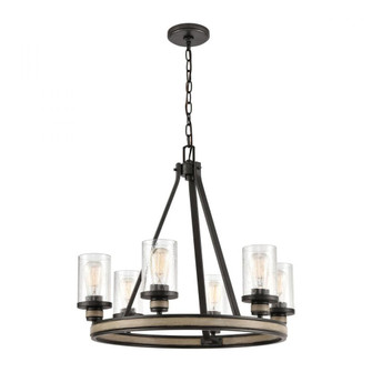 Beaufort 6-Light Chandelier in Anvil Iron and Distressed Antique Graywood with Seedy Glass (91|891596)
