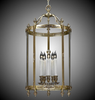 5 Light 17 inch Lantern with Clear Curved Glass (LT211705SST)
