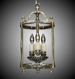 3 Light 8 inch Lantern with Clear Curved Glass (1254|LT210804GPI)