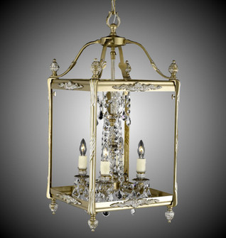 4 Light 13 inch Square Lantern with Crystal and Glass (1254|LT2413A01GPI)