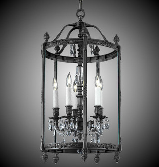 5 Light 17 inch Lantern with Clear Curved glass & Crystal (LT2217A01GPI)