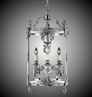 3 Light 13 inch Lantern with Clear Curved glass & Crystal (LT2213A01GPI)