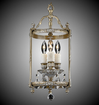 3 Light 8 inch Lantern with Clear Curved glass & Crystal (LT2208A01GPI)
