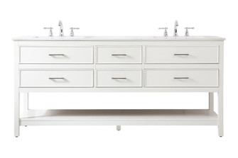 72 inch double bathroom vanity in white (758|VF19072DWH)