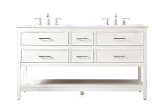 60 inch double bathroom vanity in white (758|VF19060DWH)
