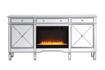 Contempo 72 in. mirrored credenza with crystal fireplace in antique Silver (758|MF61072SCF2)