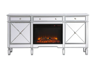 Contempo 72 in. mirrored credenza with wood fireplace in antique Silver (758|MF61072SCF1)