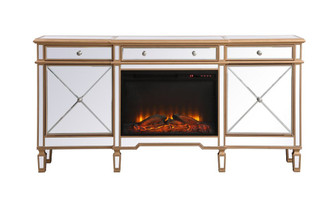Contempo 72 in. mirrored credenza with wood fireplace in antique gold (758|MF61072GF1)