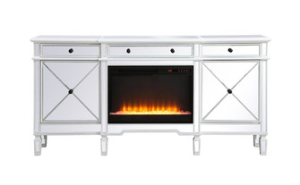 Contempo 72 in. mirrored credenza with crystal fireplace in antique white (758|MF61072AWF2)