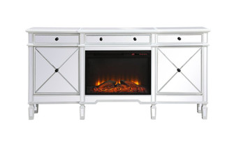 Contempo 72 in. mirrored credenza with wood fireplace in antique white (758|MF61072AWF1)
