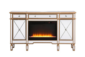 Contempo 60 in. mirrored credenza with crystal fireplace in antique gold (758|MF61060GF2)