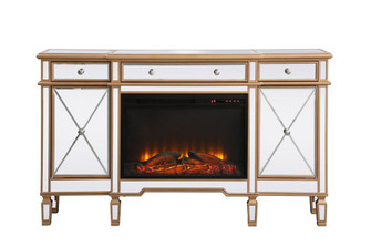 Contempo 60 in. mirrored credenza with wood fireplace in antique gold (758|MF61060GF1)