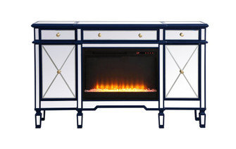 Contempo 60 in. mirrored credenza with crystal fireplace in blue (758|MF61060BLF2)