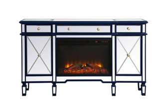 Contempo 60 in. mirrored credenza with wood fireplace in blue (758|MF61060BLF1)