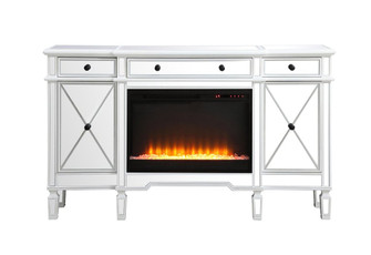 Contempo 60 in. mirrored credenza with crystal fireplace in antique white (758|MF61060AWF2)