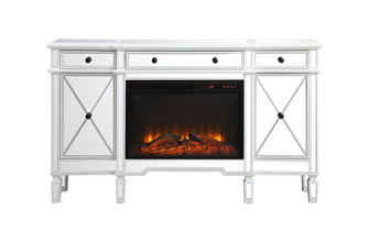 Contempo 60 in. mirrored credenza with wood fireplace in antique white (758|MF61060AWF1)