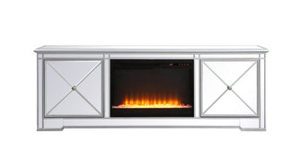 Modern 72 in. mirrored tv stand with crystal fireplace in antique Silver (758|MF60172SF2)