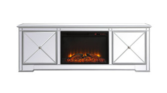 Modern 72 in. mirrored tv stand with wood fireplace in antique Silver (758|MF60172SF1)