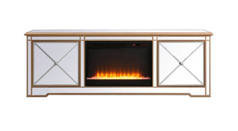 Modern 72 in. mirrored tv stand with crystal fireplace in antique gold (758|MF60172GF2)