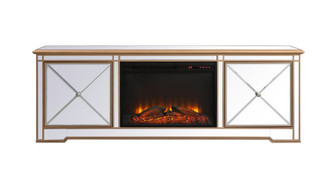 Modern 72 in. mirrored tv stand with wood fireplace in antique gold (758|MF60172GF1)