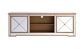 Modern 72 in. mirrored tv stand in antique gold (758|MF60172G)