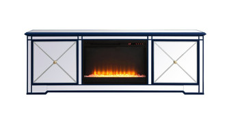 Modern 72 in. mirrored tv stand with crystal fireplace in blue (758|MF60172BLF2)