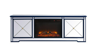Modern 72 in. mirrored tv stand with wood fireplace in blue (758|MF60172BLF1)